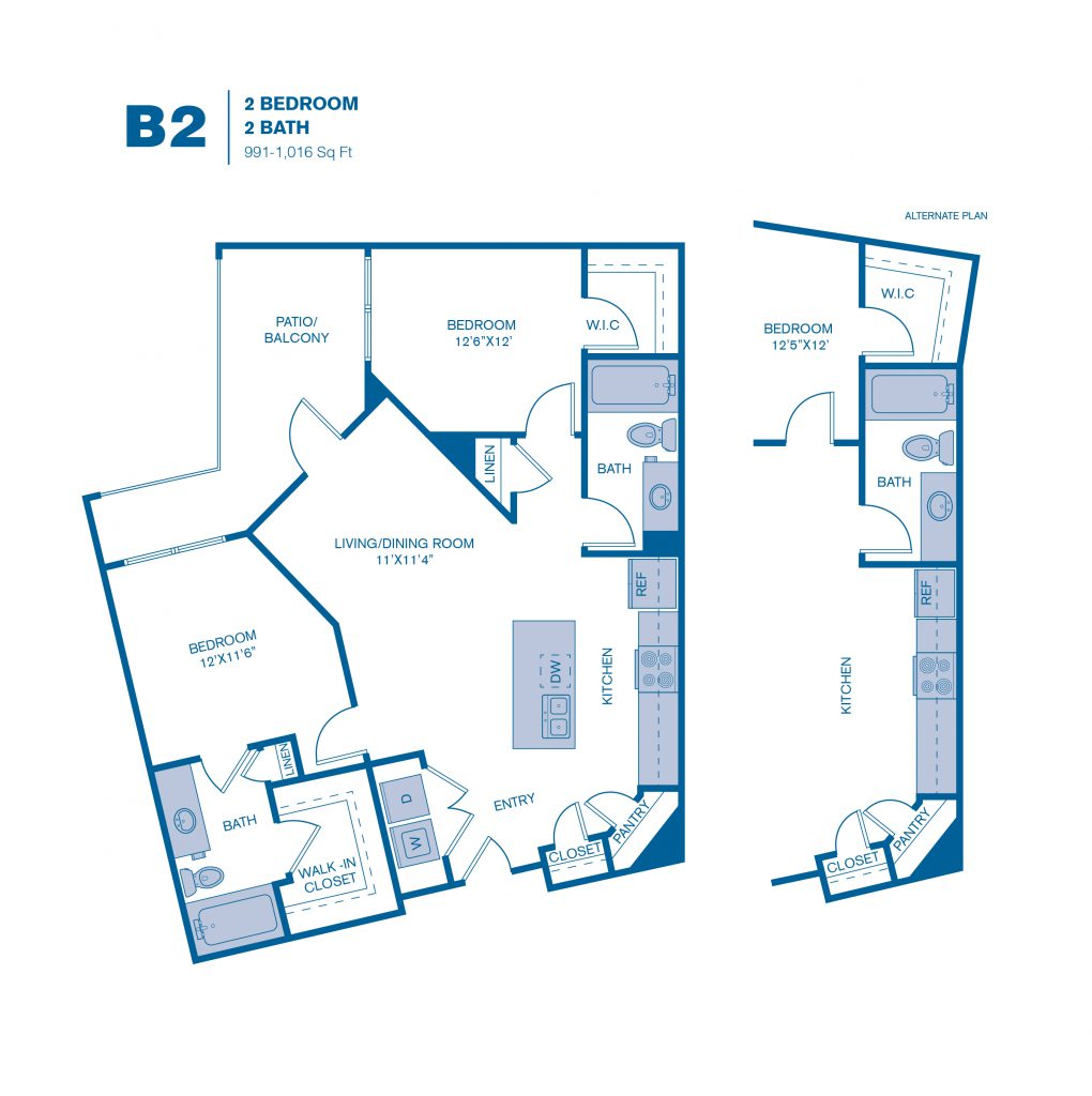 991 sq. ft. B2 floor plan