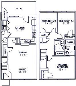 1,299 sq. ft. Mkt floor plan