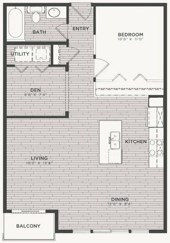 801 sq. ft. A2 floor plan