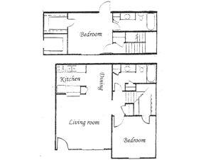 1,078 sq. ft. floor plan