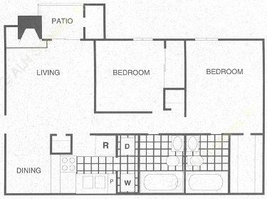 911 sq. ft. B1 floor plan