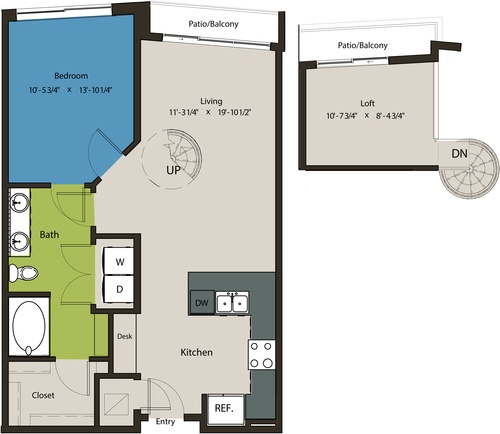 894 sq. ft. A8H-L1 floor plan