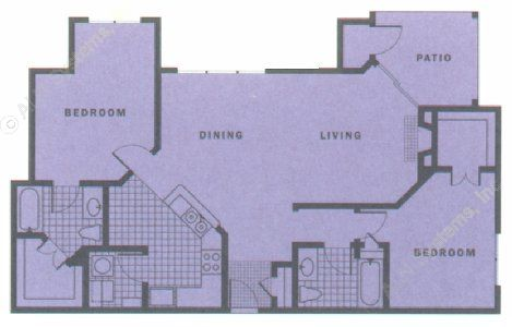 1,222 sq. ft. HACIENDA floor plan