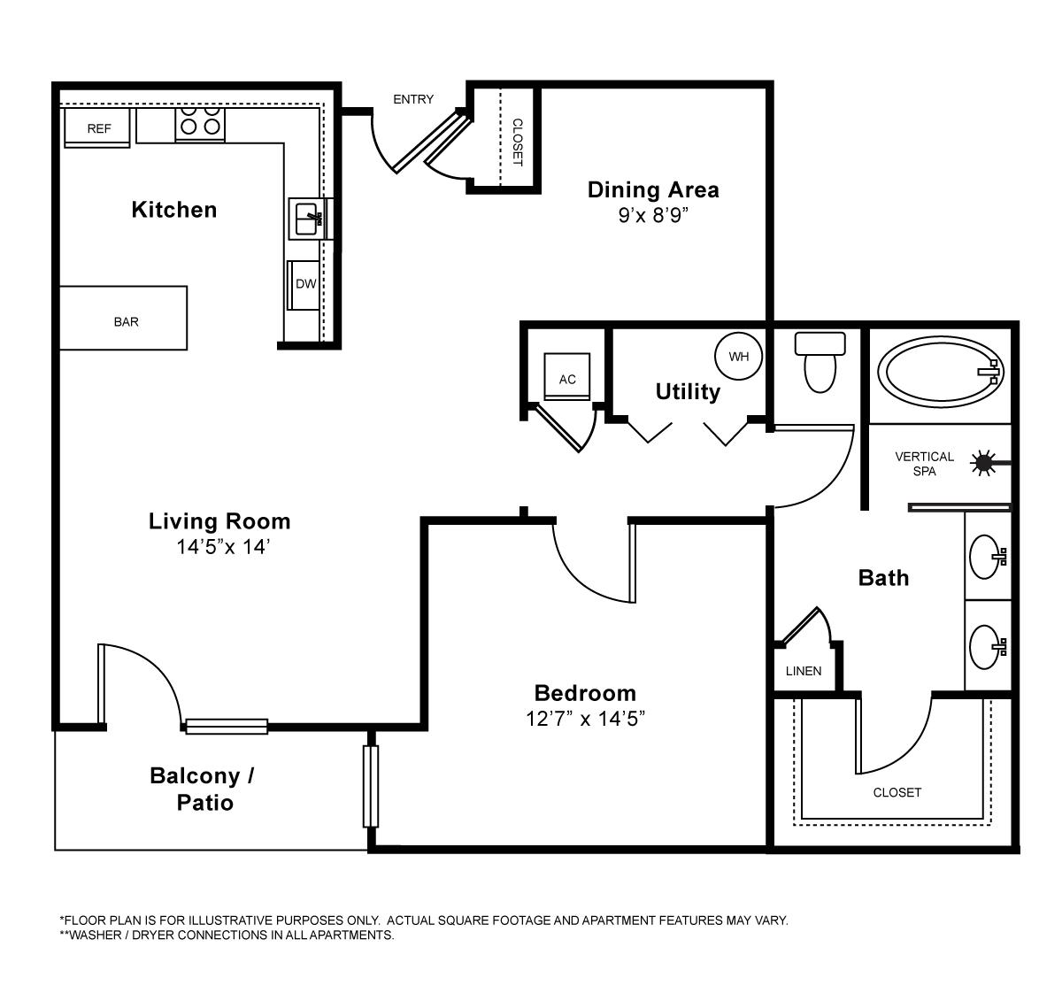 926 sq. ft. Avignon floor plan