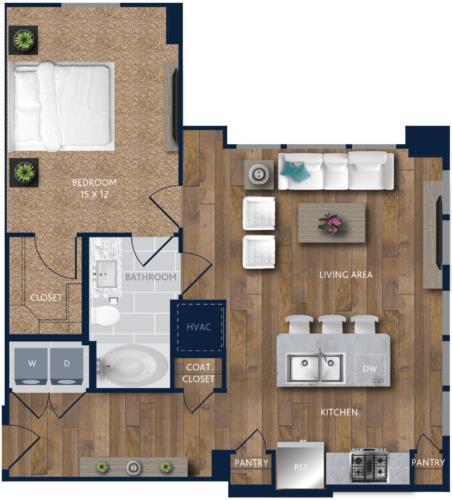 832 sq. ft. A10 floor plan