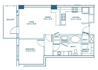 796 sq. ft. A7 floor plan