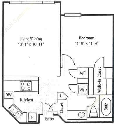 673 sq. ft. Soho floor plan