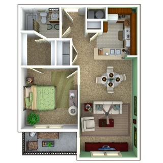 720 sq. ft. Escape/50% floor plan