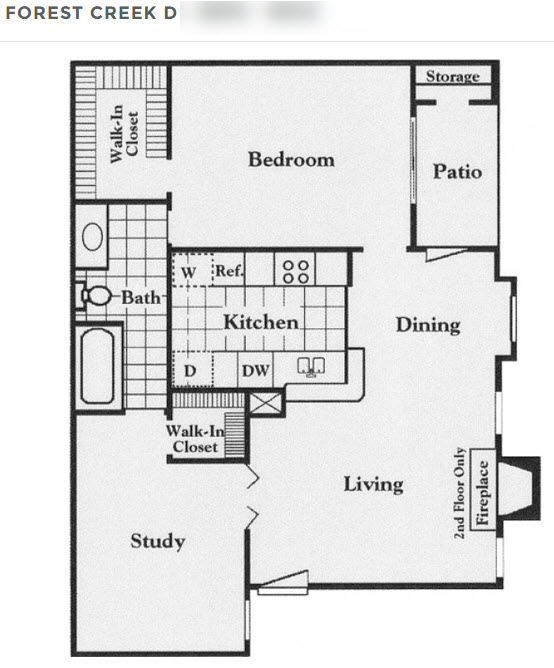 816 sq. ft. D floor plan