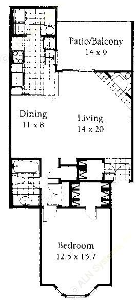 854 sq. ft. A floor plan