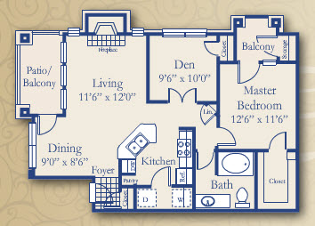 866 sq. ft. Juniper floor plan
