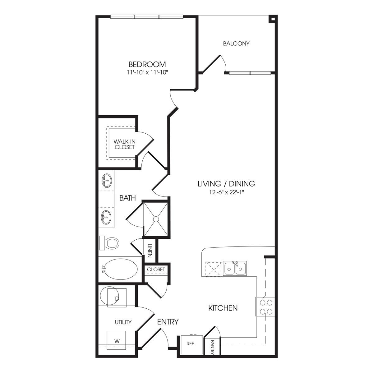 874 sq. ft. Fleet Street floor plan