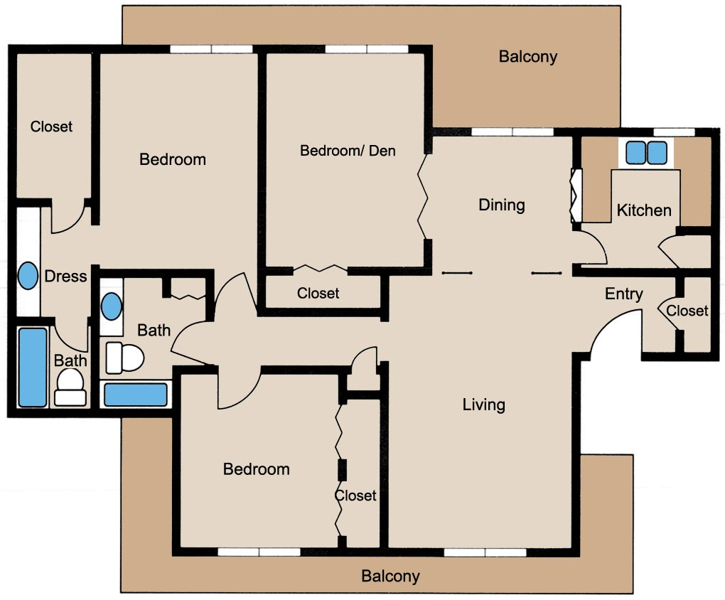 1,358 sq. ft. floor plan