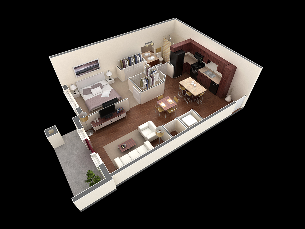 780 sq. ft. Stone floor plan