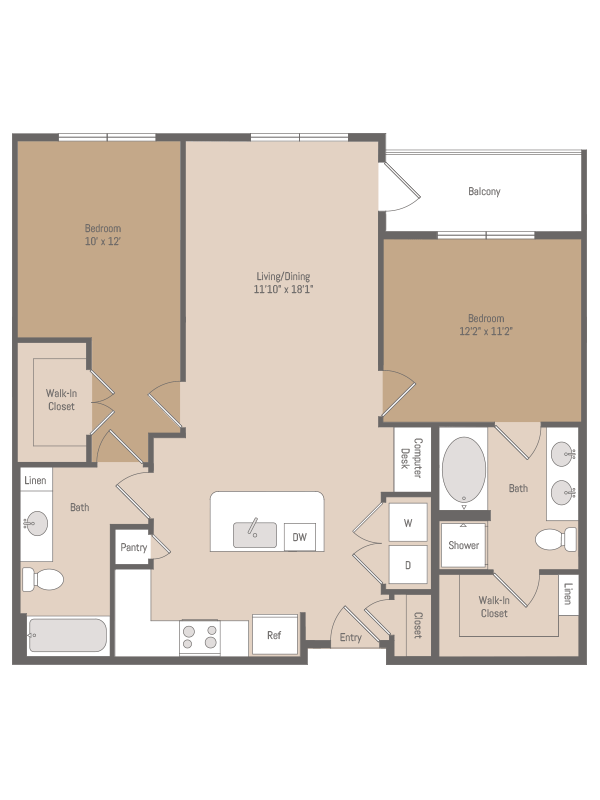 1,064 sq. ft. B1.5 floor plan