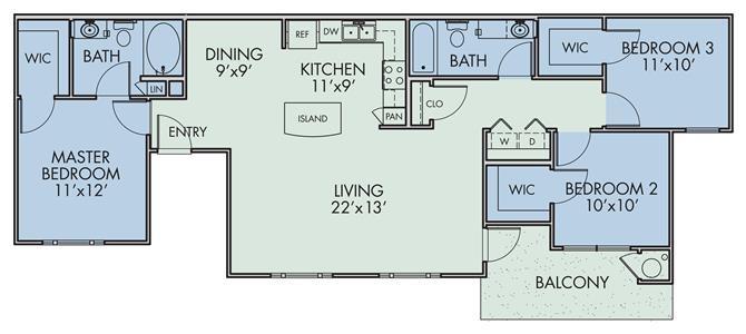 954 sq. ft. Aparece/50% floor plan