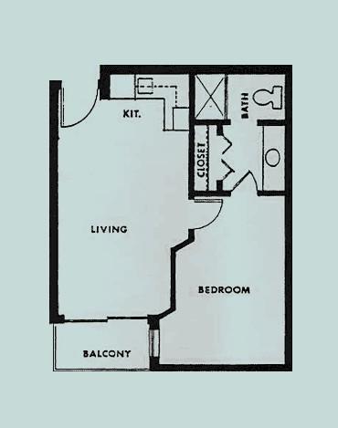 520 sq. ft. Scenic floor plan