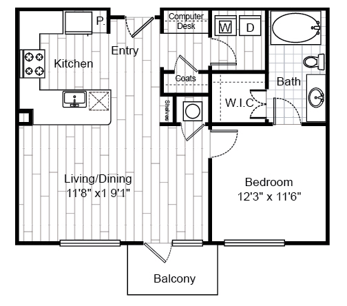 751 sq. ft. A0.1 floor plan