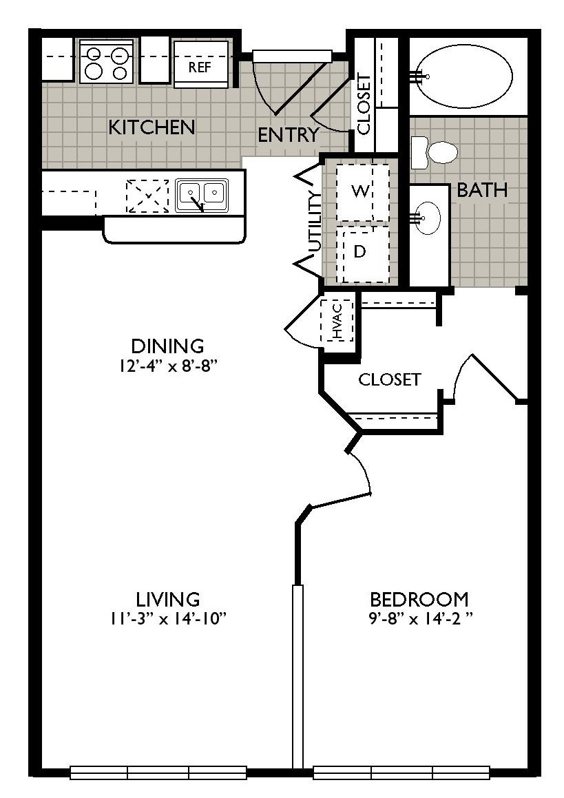 658 sq. ft. ESENCES floor plan
