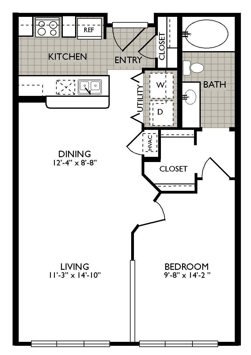 658 sq. ft. Esences floor plan