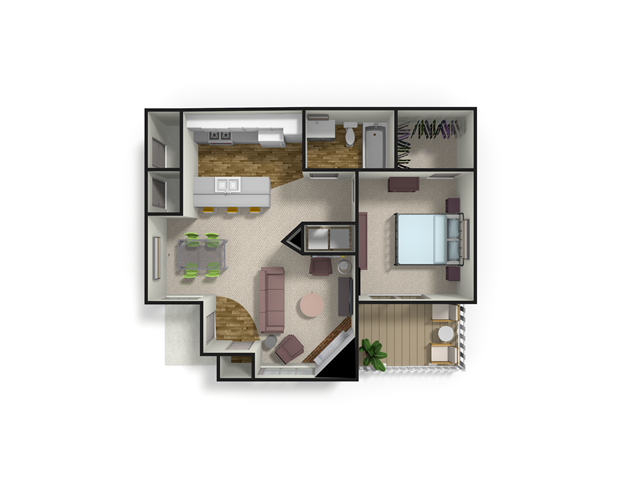 758 sq. ft. SPRUCE floor plan