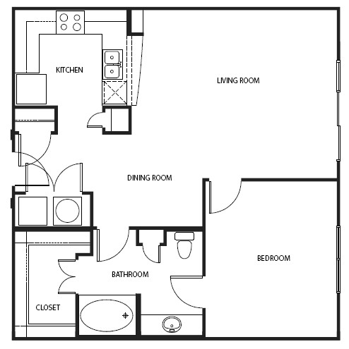 874 sq. ft. to 935 sq. ft. A7-E floor plan