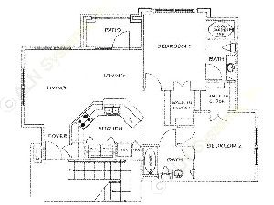 994 sq. ft. A/50% floor plan