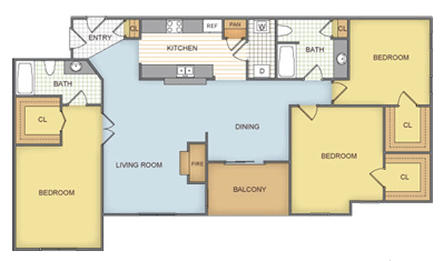 1,230 sq. ft. Rosewood - C2-2-GAR floor plan