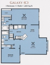 1,063 sq. ft. MKT floor plan