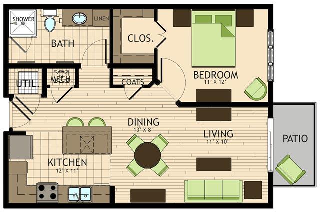 710 sq. ft. to 749 sq. ft. Michaelangelo floor plan