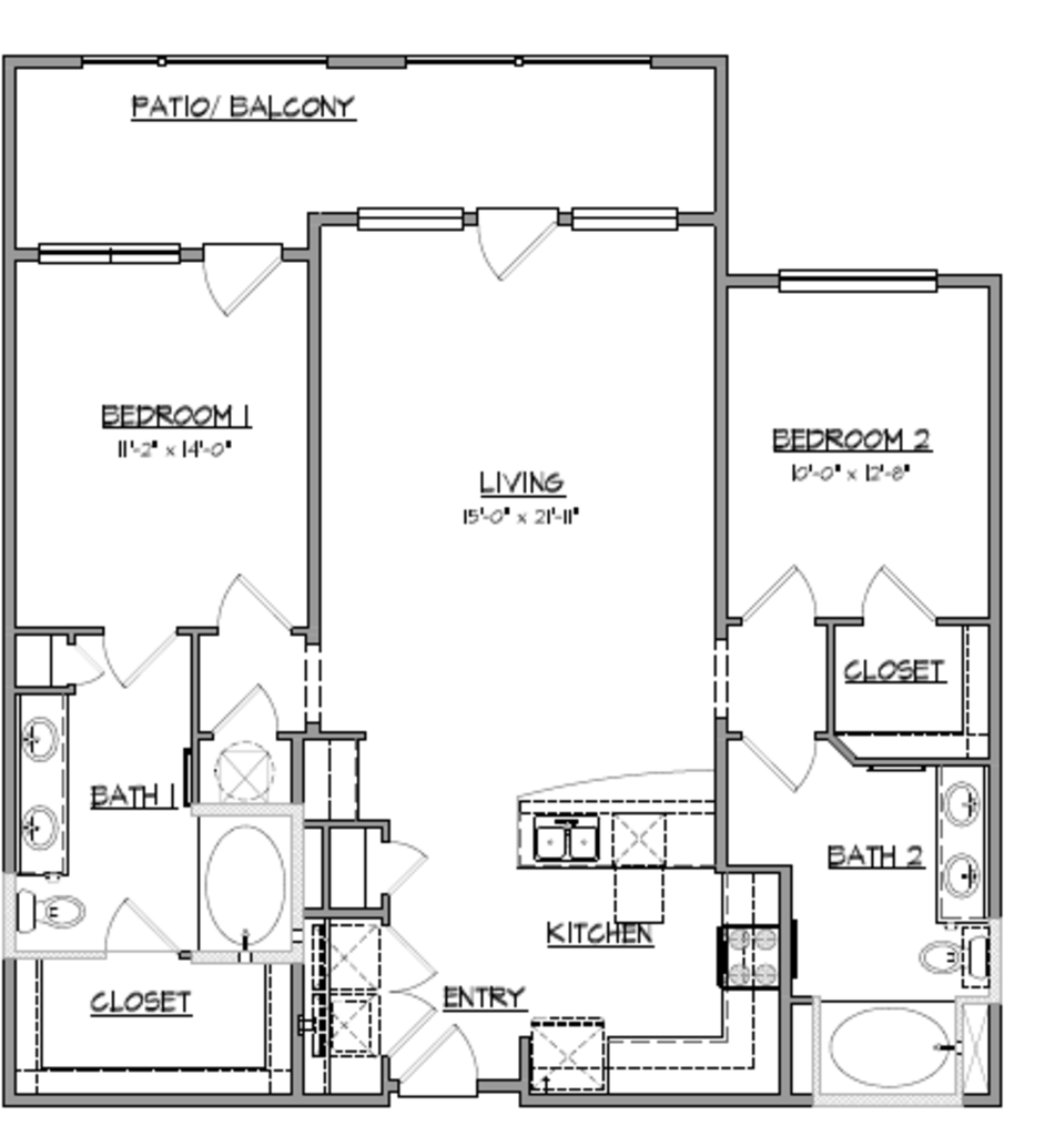 1,250 sq. ft. B4 floor plan