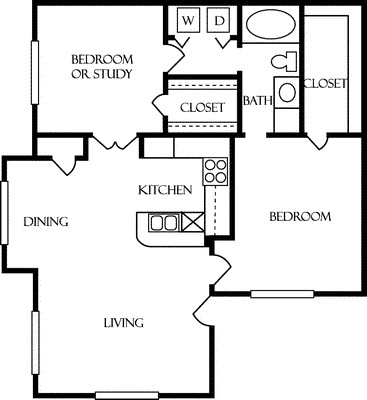 993 sq. ft. A3 floor plan