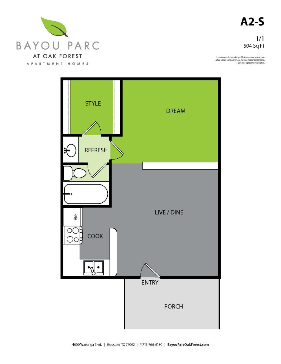 504 sq. ft. A2-S floor plan