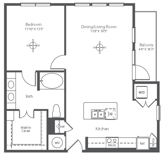 883 sq. ft. A16 floor plan