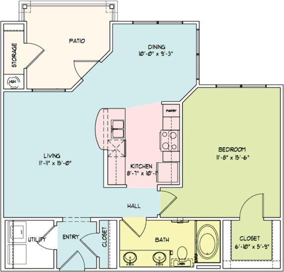 834 sq. ft. A3 floor plan