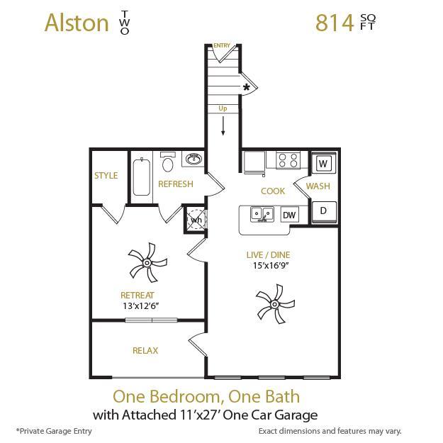 814 sq. ft. Alston 2 floor plan