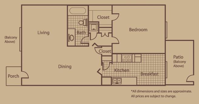 833 sq. ft. A floor plan