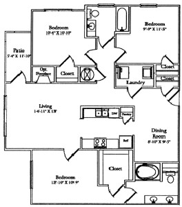 1,249 sq. ft. Patio floor plan