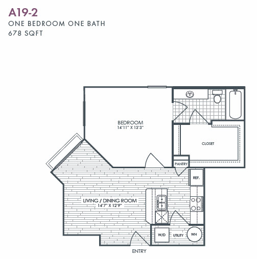 678 sq. ft. A19-2 floor plan