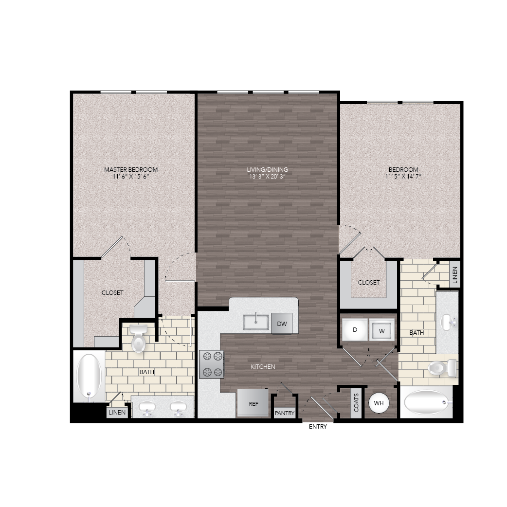 1,204 sq. ft. B1A floor plan
