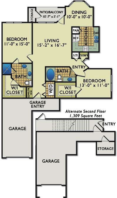 1,174 sq. ft. C1G floor plan