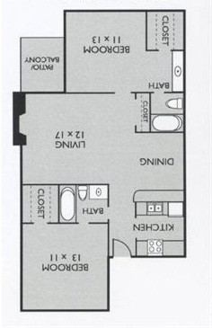 921 sq. ft. B1(South) floor plan