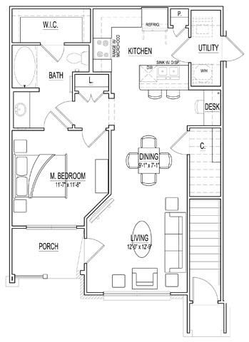 763 sq. ft. Isola Bella floor plan