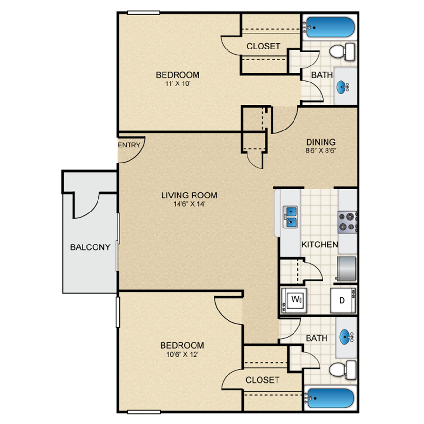 1,000 sq. ft. E floor plan