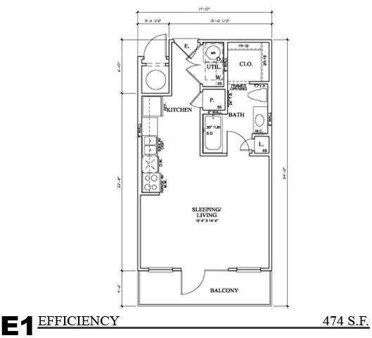 548 sq. ft. E3 floor plan
