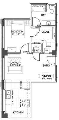585 sq. ft. Weatherford floor plan