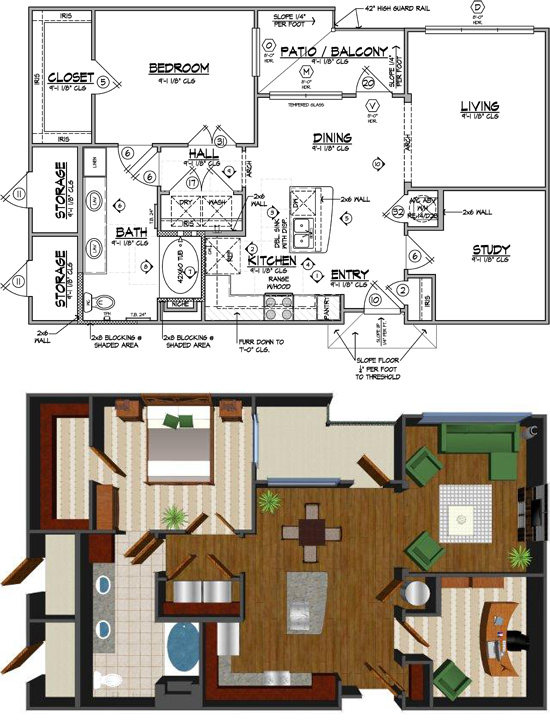 964 sq. ft. J-HC floor plan