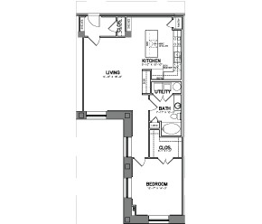 1,015 sq. ft. Unit 15-5W floor plan