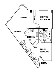 1,050 sq. ft. C floor plan