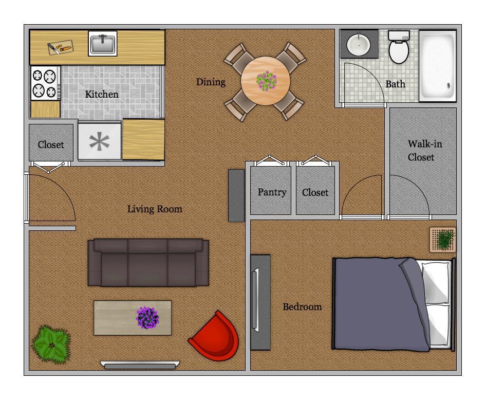 680 sq. ft. floor plan